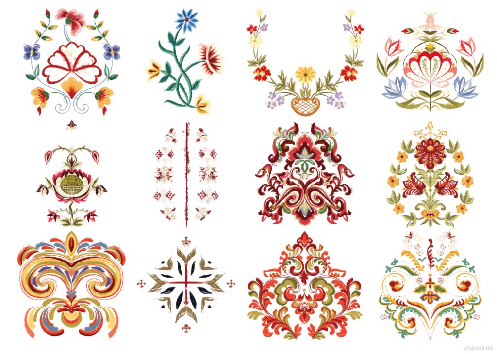 Tegnede bunadsmønster